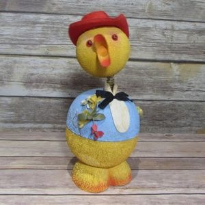 Vtg Paper Mache Bobble Head Chicken Container